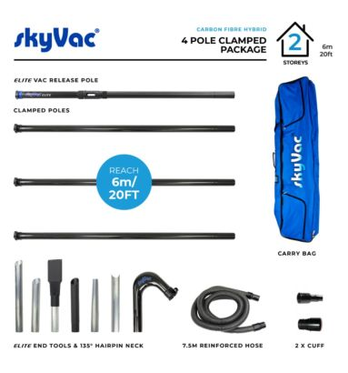 skyVac Clamped Carbon Fibre Hybrid suction poles for gutter cleaning
