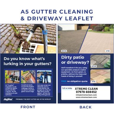 Promote your gutter and cleaning business with quality A5 leaflets