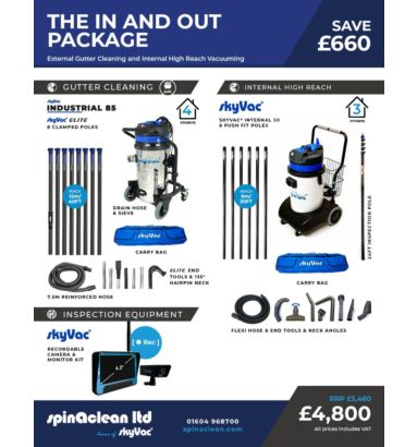 The In and out package for external gutter cleaning and internal high reach cleaning