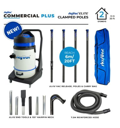 skyVac Commercial 75 Plus gutter vacuum with high reach Elite suction poles