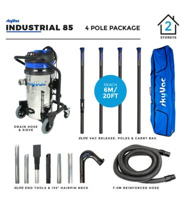 skyVac Industrial 85  Gutter Clearing system with Elite 4 Pole Package
