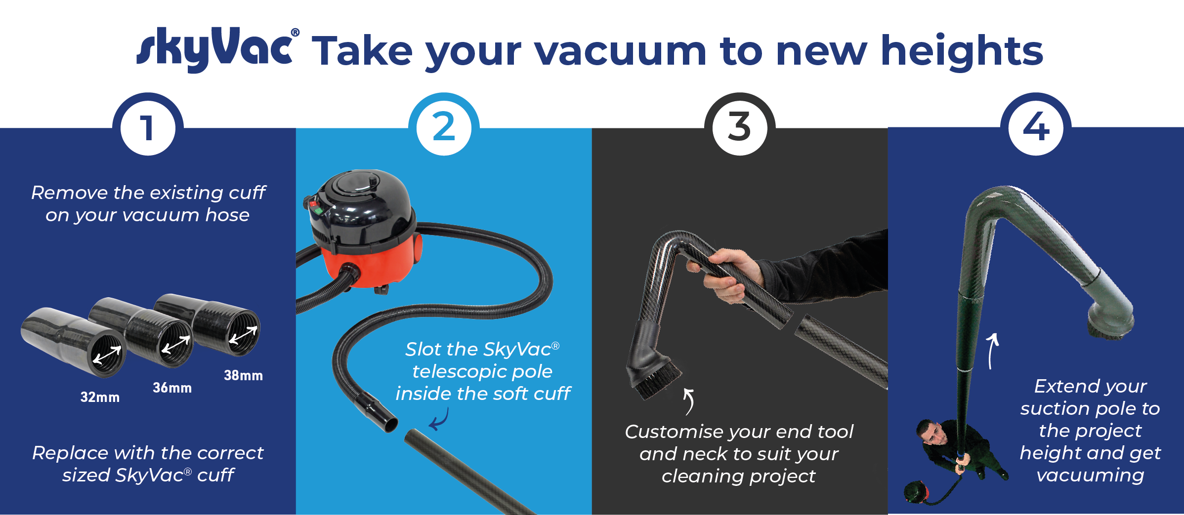 How to use the skyVac telescopic suction pole
