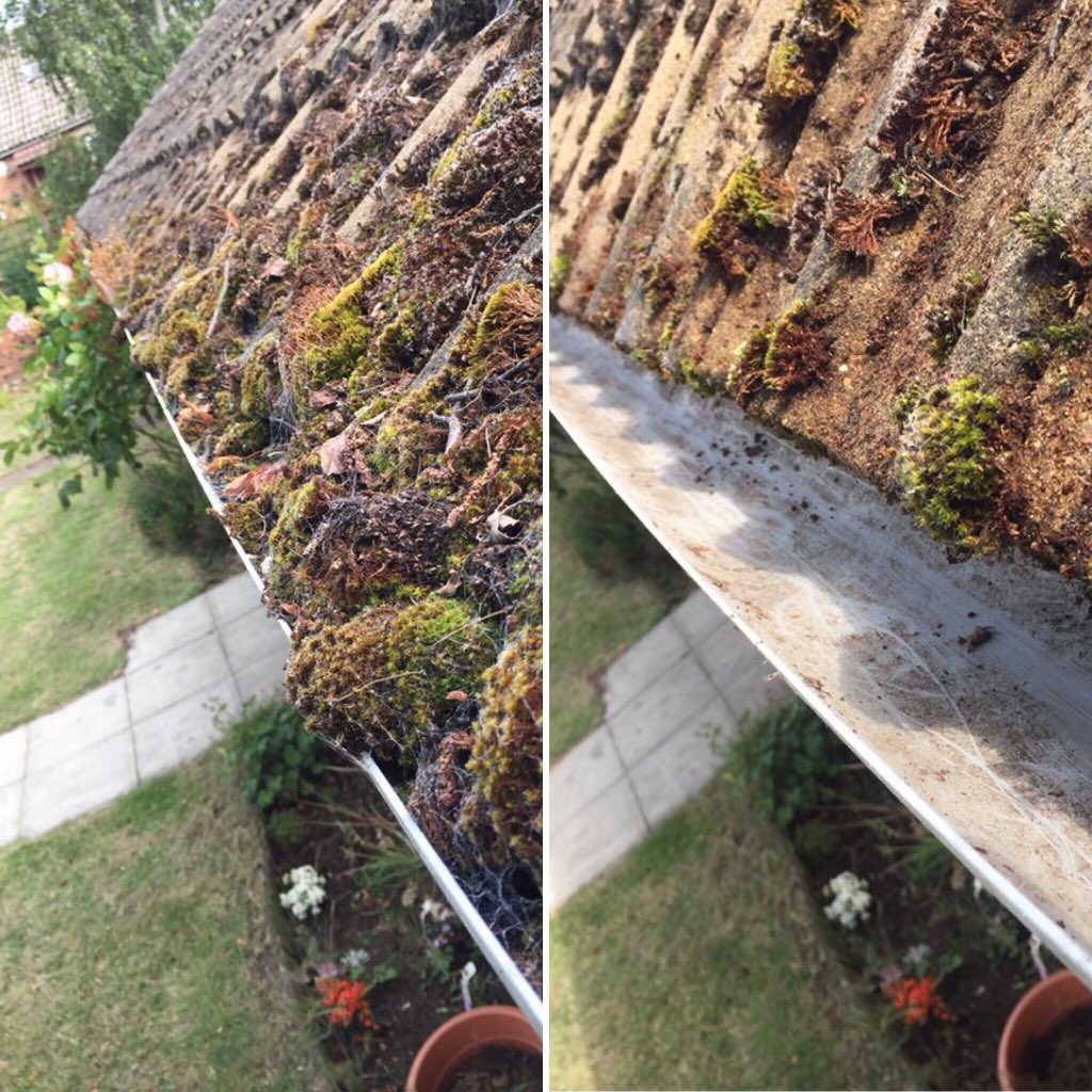 before and after gutter cleaning image